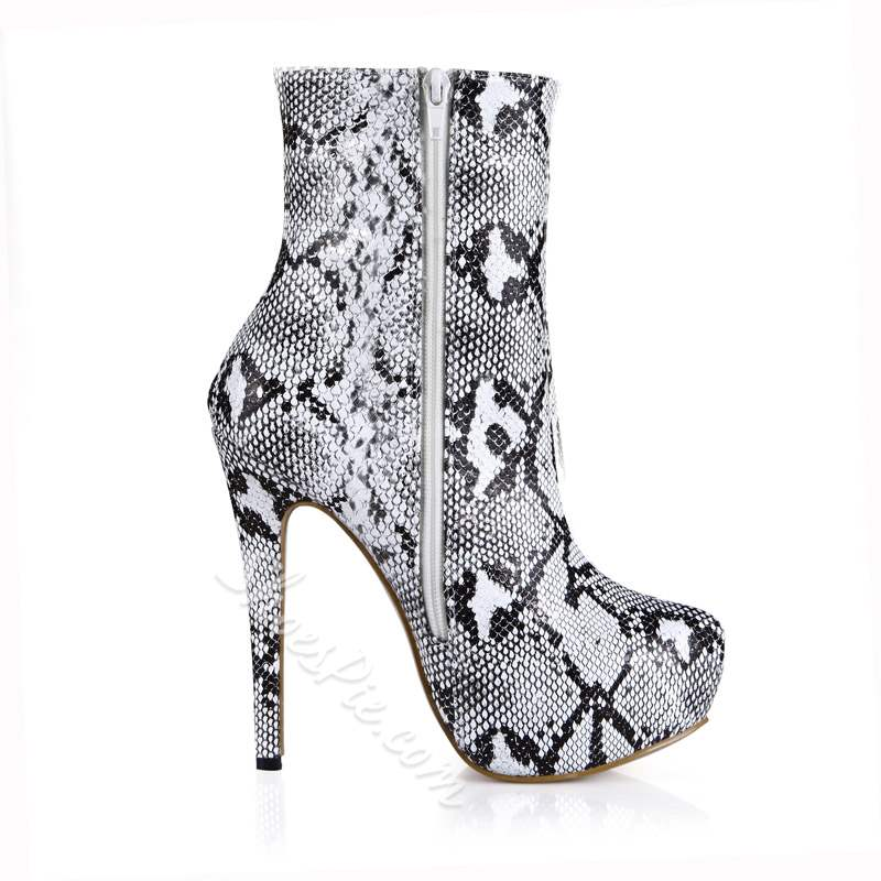 Shoespie Sexy Round Toe Side Zipper Stiletto Heel Ankle Boots