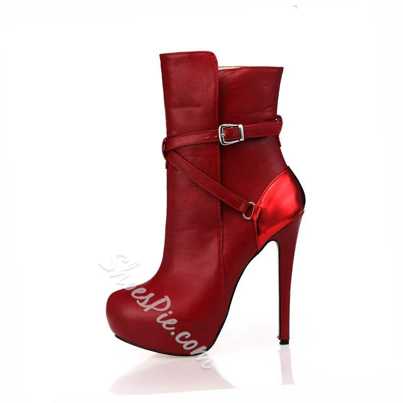 Shoespie Trendy Round Toe Stiletto Heel Hasp Ankle Boots