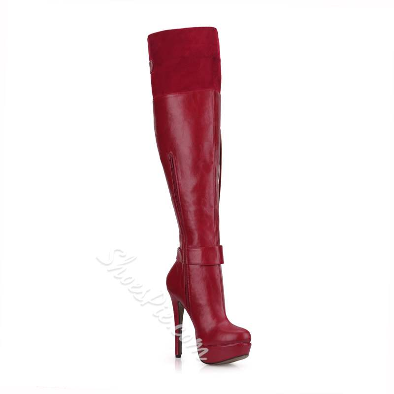 Shoespie Trendy Round Toe Patchwork Stiletto Heel Knee High Boots