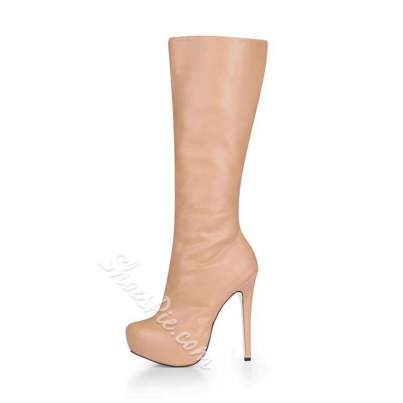 Shoespie Round Toe Side Zipper Stiletto Heel Knee High Boots