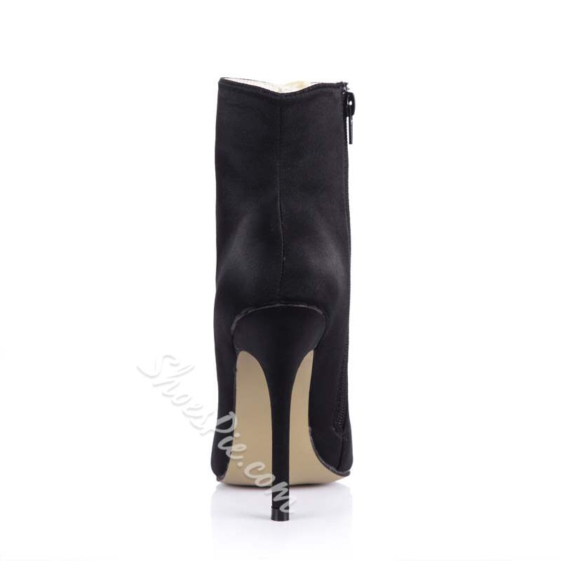 Shoespie Side Zipper Stiletto Heel Warm Ankle Boots