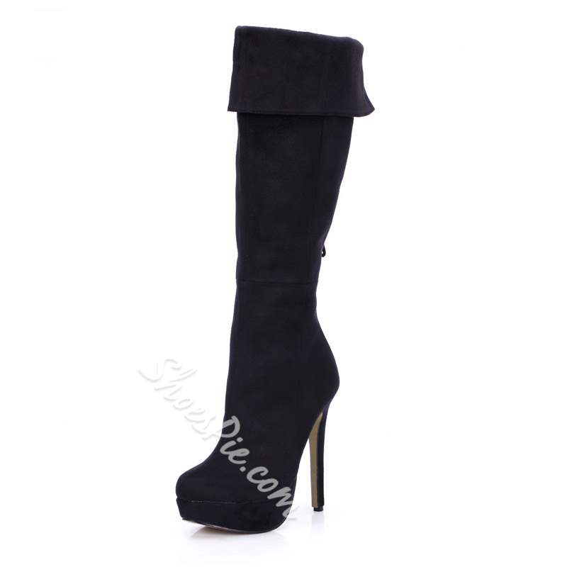 Shoespie Stylish Stiletto Heel Round Toe Knee High Boots