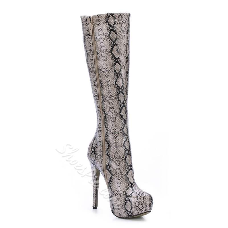 Shoespie Trendy Side Zipper Stiletto Heel Knee High Boots
