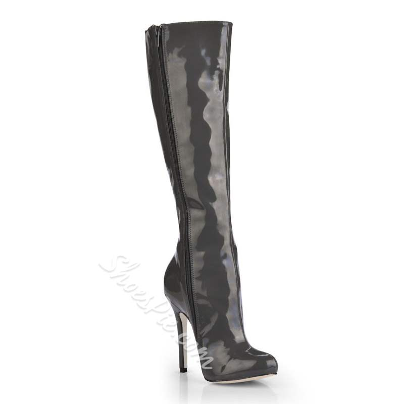 Shoespie Round Toe Stiletto Heel Knee High Boots