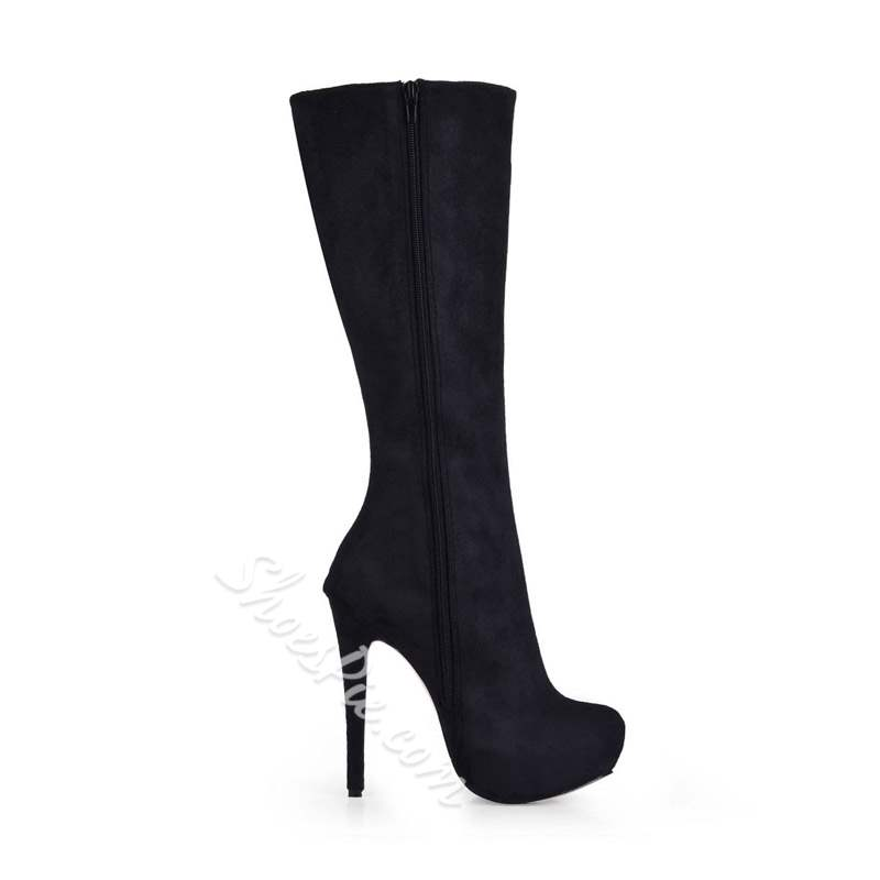 Shoespie Trendy Suede Stiletto Heel Short Floss Knee High Boots