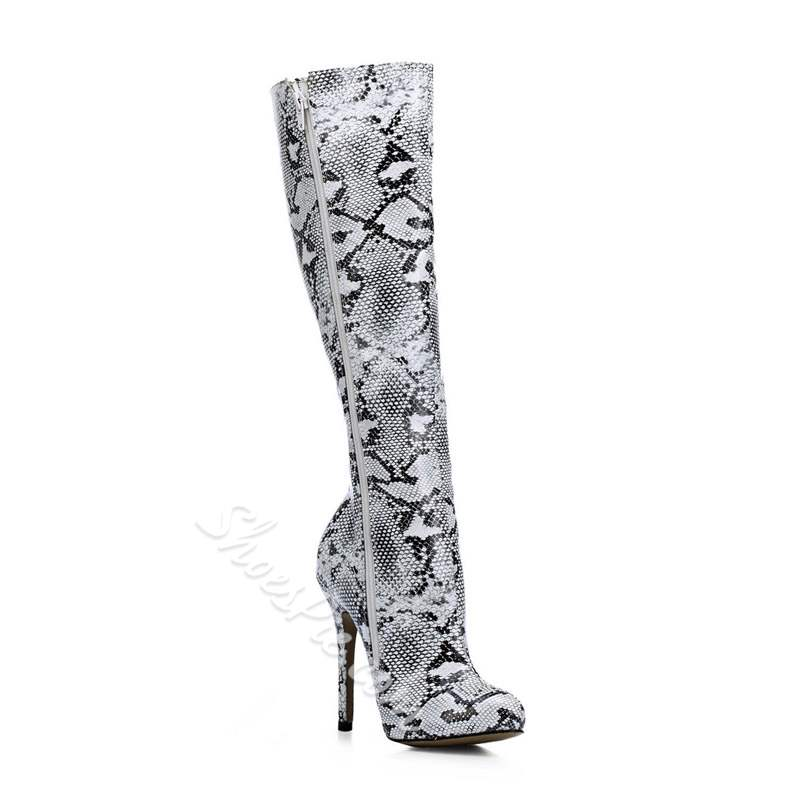 Shoespie Trendy Round Toe Side Zipper Stiletto Heel Knee High Boots