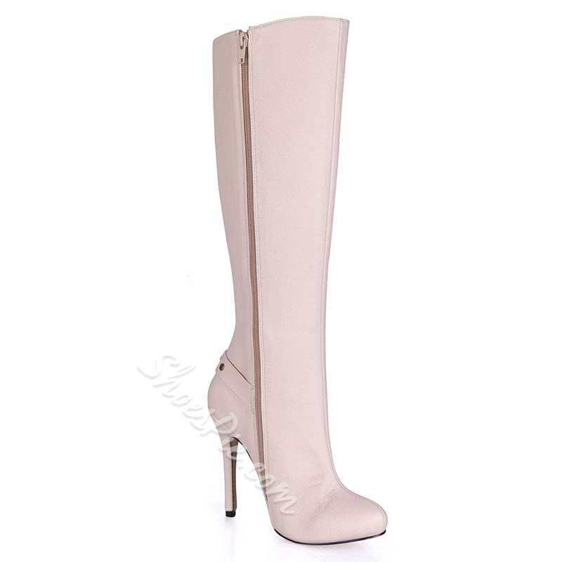 Shoespie Stylish Rivet Stiletto Heel Side Zipper Knee High Boots