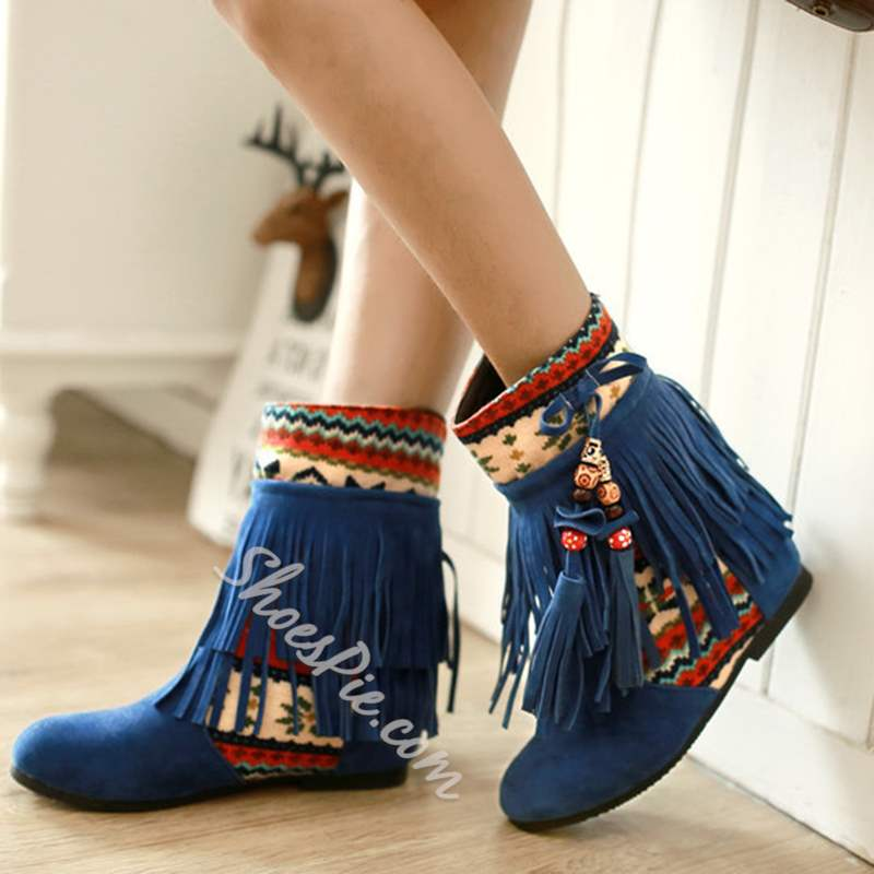 Shoespie Stylish Round Toe Slip-On Hidden Heel Ankle Boots