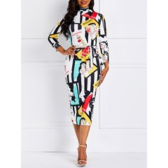 Knee-Length V-Neck Geometric Color Block Women's Bodycon Dress