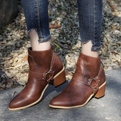 Shoespie Trendy Plain Round Toe Chunky Heel Ankle Boots