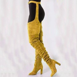 Shoespie Stylish Chunky Heel Pointed Toe Thigh High Boots