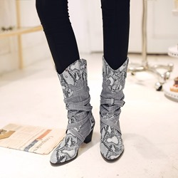 Shoespie Sexy Serpentine Chunky Heel Slip-On Ankle Boots