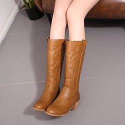 Shoespie Trendy Round Toe Slip-On Knee High Boots
