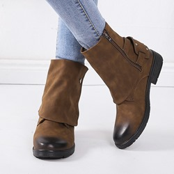 Shoespie Sexy Side Zipper Block Heel Brush Off Ankle Boots