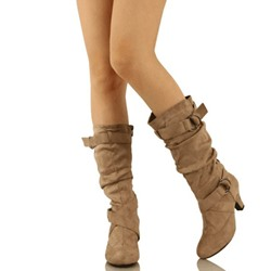 Shoespie Trendy Chunky Heel Round Toe Buckle Knee High Boots