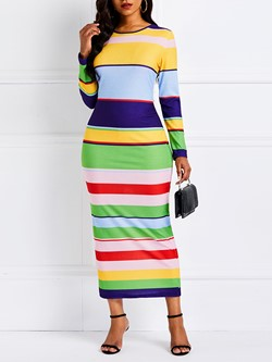 Ankle-Length Long Sleeve Patchwork Spring Women's Maxi Dress