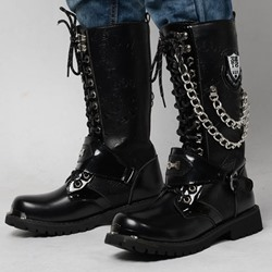 Shoespie Square Toe Plain Lace-Up Front PU Men's Boots