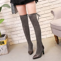 Shoespie Stylish Pointed Toe Lace-Up Knee High Boots
