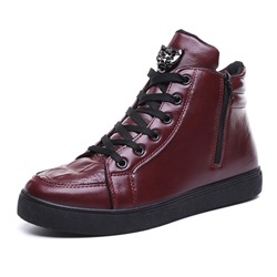 Shoespie Side Zipper Round Toe PU Men's Sneakers
