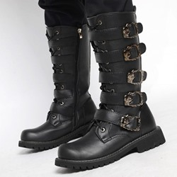 Shoespie Side Zipper Round Toe Plain Men's Boots