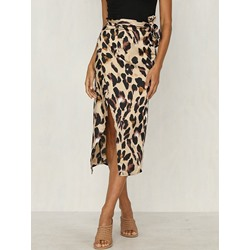 Leopard Mid-Calf Print High-Waist Women's Skirt