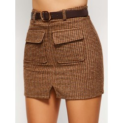 Plaid A-Line Split High-Waist Women's Skirt