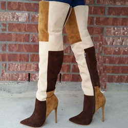 Shoespie Sexy Stiletto Heel Color Block Side Zipper Thigh High Boots