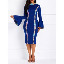 Long Sleeve Patchwork Stripe Women's Bodycon Dress