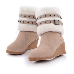 Shoespie Stylish Round Toe Wedge Heel Slip-On Ankle Boots