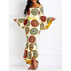 Floor-Length Long Sleeve Color Block Women's Maxi Dress