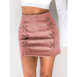 Lace-Up A-Line High-Waist Women's Mini Skirt