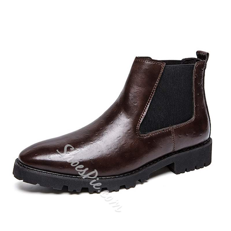 Shoespie Elastic Round Toe Plain PU Men's Boots