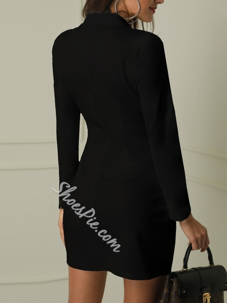Button Long Sleeve Office Lady Plain Women's Bodycon Dress