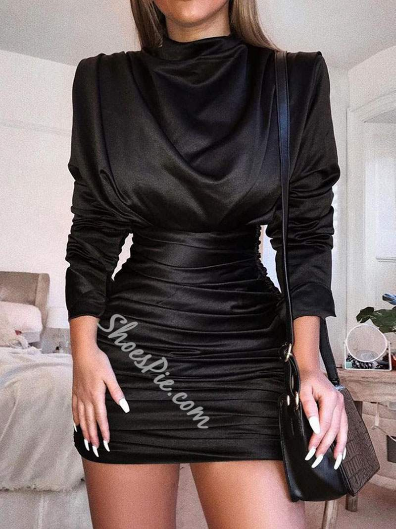 Above Knee Pleated Long Sleeve Zipper Women's Bodycon Dress