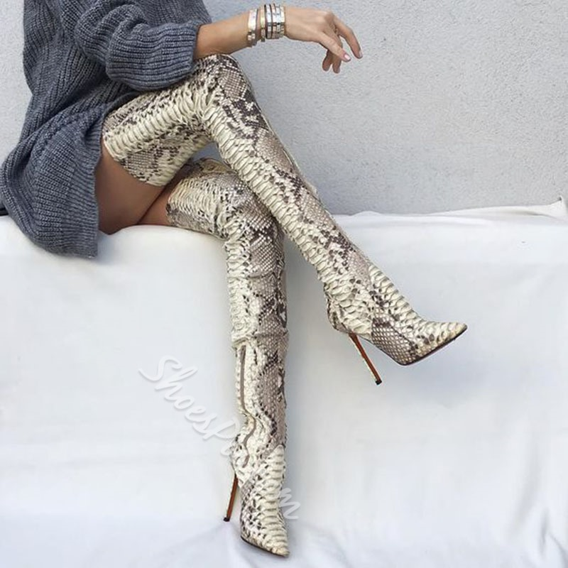 Shoespie Sexy Pointed Toe Stiletto Heel Serpentine Thigh High Boots