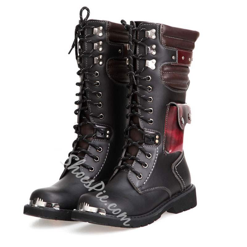 Shoespie Round Toe Plain Lace-Up Front PU Men's Boots