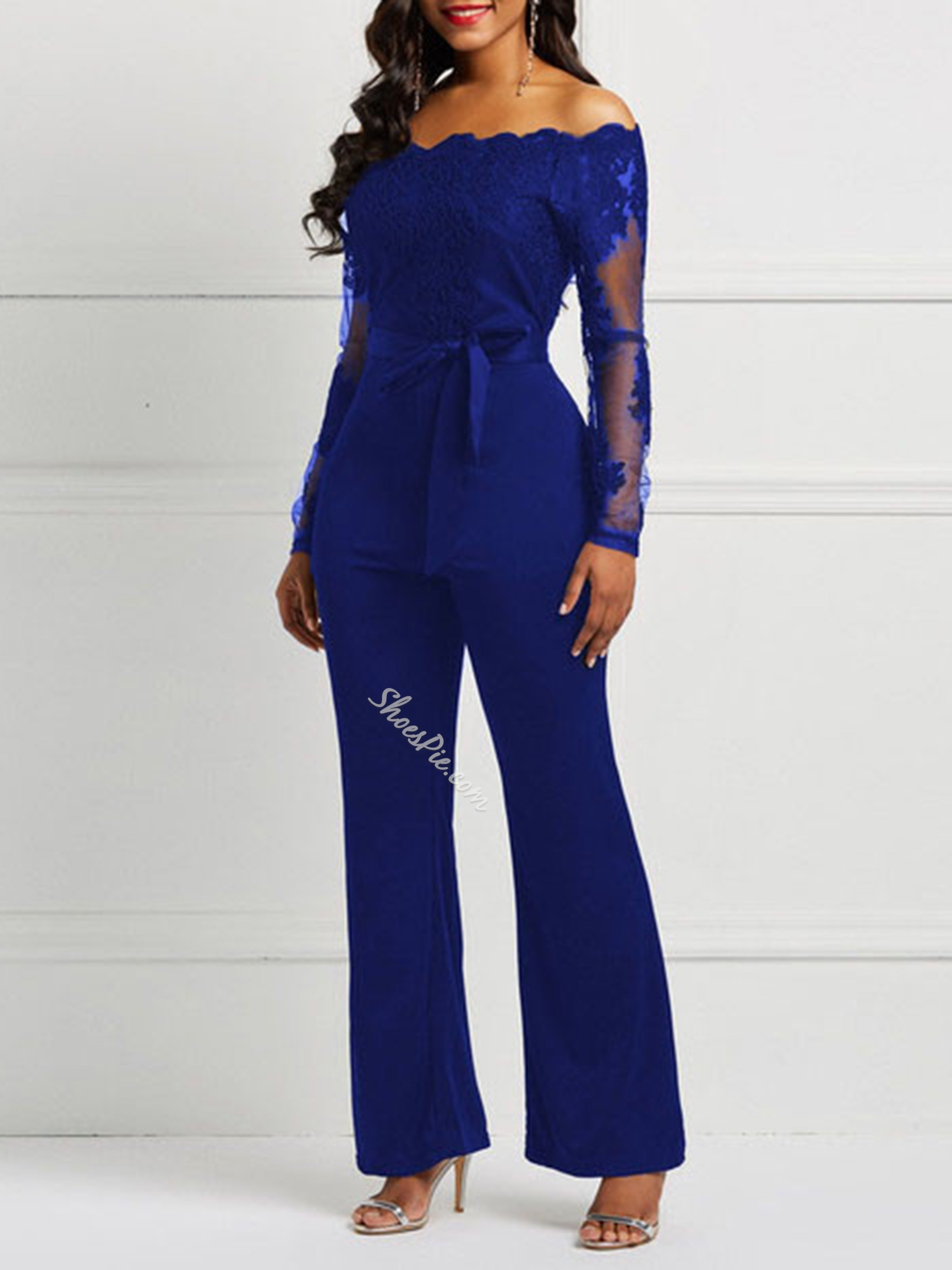 Patchwork Full Length Casual Wide Legs Women's Jumpsuit