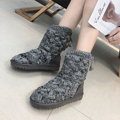 Shoespie Sexy Flat Round Toe Lace-Up Snow Boots