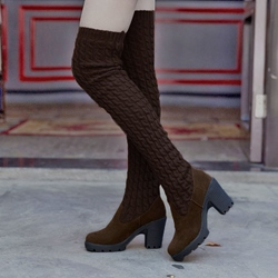 Shoespie Sexy Slip-On Chunky Heel Round Toe Thigh High Boots