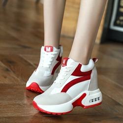 Shoespie Trendy Mid-Cut Round Toe Lace-Up Platform Sneakers
