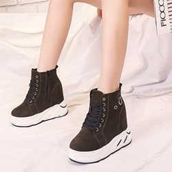 Shoespie Trendy Hidden Elevator Heel Side Zipper Sneakers