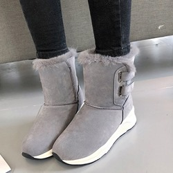Shoespie Trendy Plain Velcro Round Toe Snow Boots