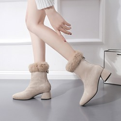 Shoespie Sexy Back Zip Round Toe Purfle Warm Ankle Boots