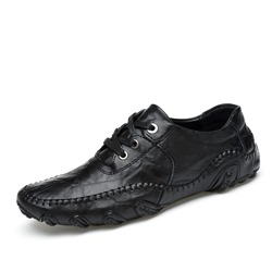 Shoespie Lace-Up Flat Heel PU Men's Loafers