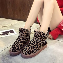Shoespie Stylish Round Toe Platform Leopard Snow Boots