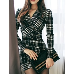 Above Knee Long Sleeve V-Neck Pullover Women's Bodycon Dress