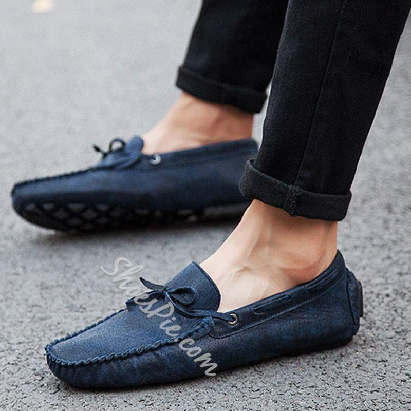 Shoespie Slip-On Plain Flat PU Bow Men's Loafers