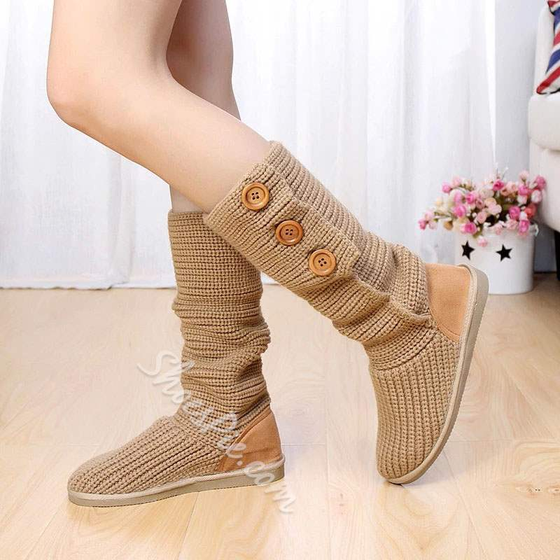 Shoespie Trendy Slip-On Round Toe Thread Snow Boots