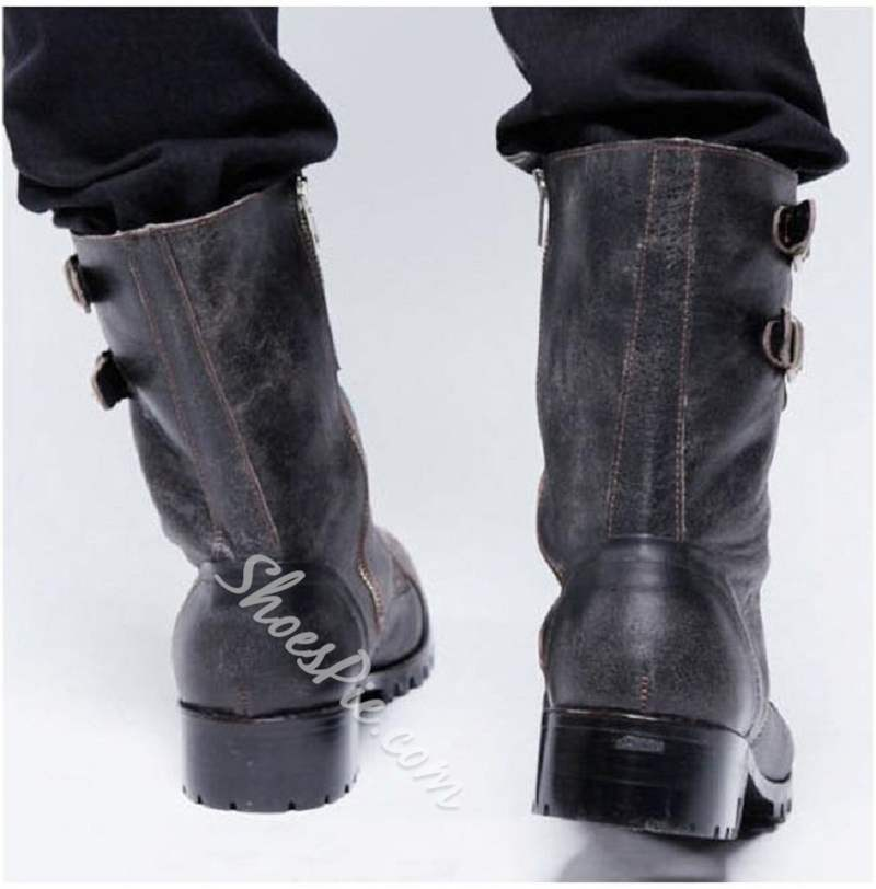 Shoespie Round Toe Side Zipper PU Men's Boots