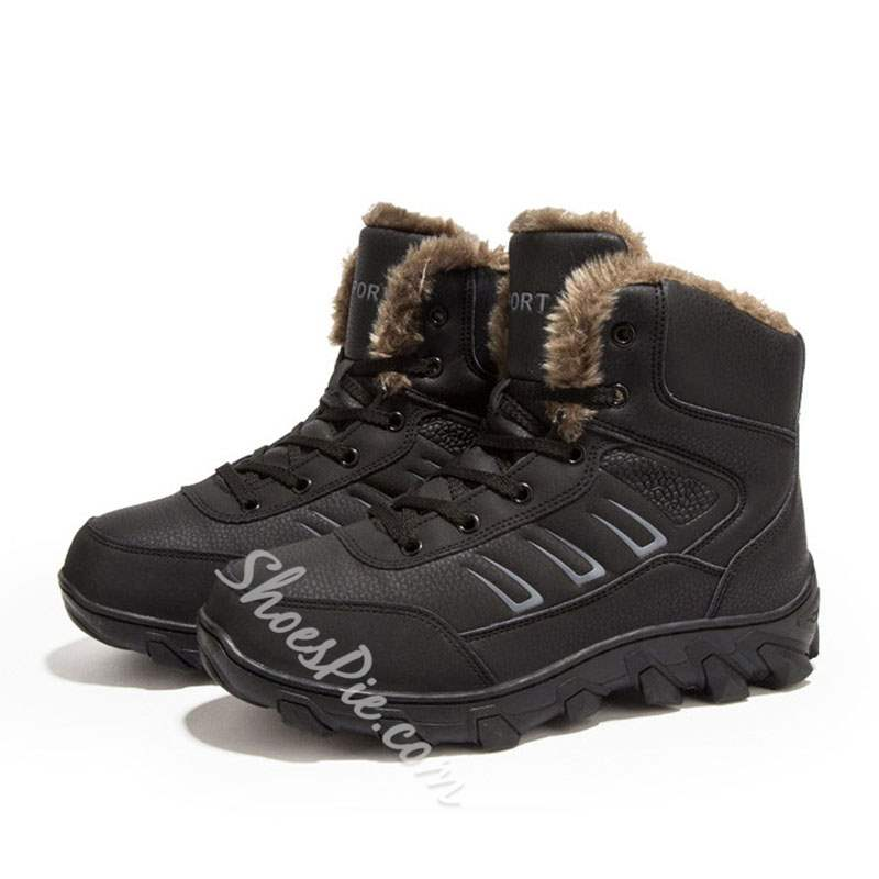 Shoespie Round Toe Lace-Up Platform PU Men's Snow Boots